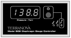Single diaphragm gauge controller in Torr reading