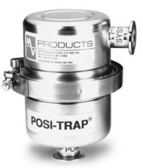 4 inch Posi-Trap foreline filter suitable for different filter elements. Angle version with DN25KF flanges