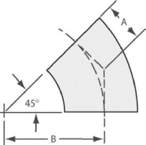 45º radius elbow tube 1/2