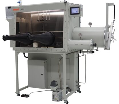 I-Lab 2 Glovebox including large and small antechamber right hand side. Including O2 and H2O analyzers