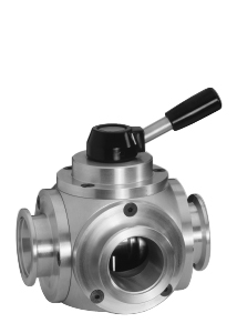 Manual operated 3-way valve Aluminum, DN16KF