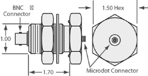 1 MicroDot to BNC connector, 1 inch baseplate