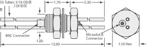"""1 MicroDot to BNC connector, 2 cooling tubes (3/16"""" OD), 1 inch baseplate"""