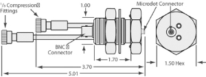 """1 MicroDot to BNC connector, 2 cooling tubes with 1/8"""" compression fittings, 1 inch baseplate"""