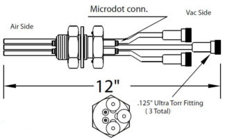 "2 MicroDot to MicroDot connector, 2 cooling tubes and 1 air tube with 1/8"" compress. fitt. (Vac side), 1 inch baseplate"
