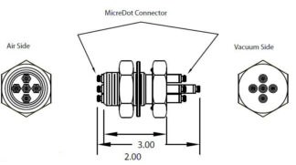 5 MicroDot to MicroDot connector, 1 inch baseplate
