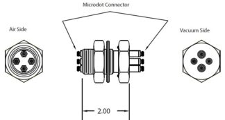 4 MicroDot to MicroDot connector, 1 inch baseplate