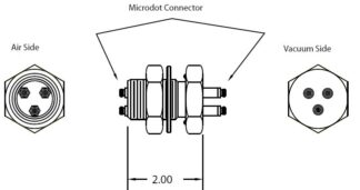 3 MicroDot to MicroDot connector, 1 inch baseplate