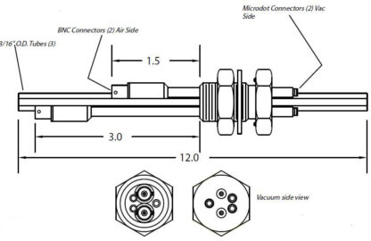 2 MicroDot to BNC connector, 2 cooling tubes and 1 air tube, 1 inch baseplate