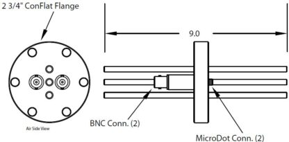 """2 MicroDot to BNC connector and 3 tubes (3/16"""" OD), DN40CF"""