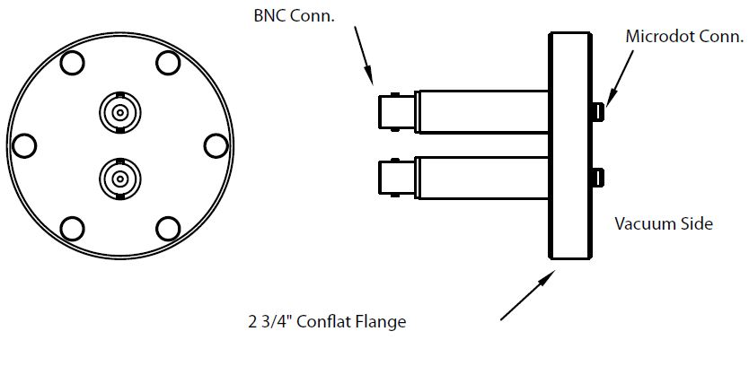 2 MicroDot to BNC connector, DN40CF