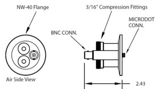 "1 MicroDot to BNC connector, 2 compression fittings 3/16"", DN40KF"