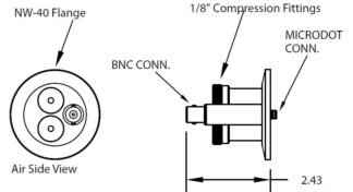 "1 MicroDot to BNC connector, 2 compression fittings 1/8"", DN40KF"