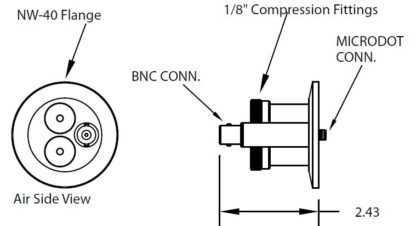 """1 MicroDot to BNC connector, 2 compression fittings 1/8"""", DN40KF"""