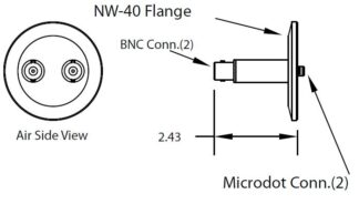 2 MicroDot to BNC connector, DN40KF