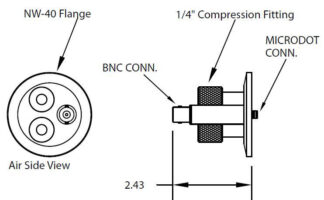 2 compression port fittings and 1 Microdot to BNC connector, DN40KF