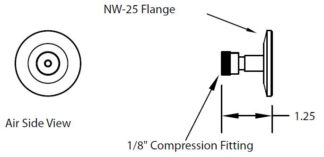 "1 compression port fitting 1/8"", DN25KF"