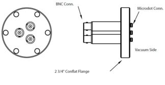 3 MicroDot to BNC connector, DN40CF