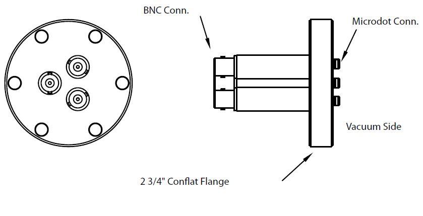 3 MicroDot to BNC connector, DN40CF