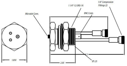 """1 MicroDot to BNC connector, 2 fluid tubes with 1/8"""" compression fitting, 1,1/4 inch baseplate"""