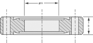 Double-sided bored flange with bore 66mm, DN63CF, 8 bolt holes