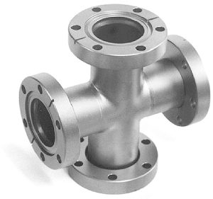 4-Way cross 2 flanges rotatable, DN19CF, stainless steel 316L