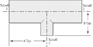 "Reducer Tee tube 2,1/2"" by 2"" sideport, tumbled finish"
