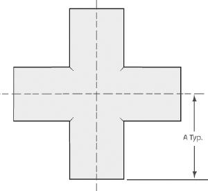 "4-Way cross tube 6"", tumbled finish"