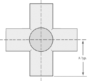 "5-Way cross tube 4"", tumbled finish"