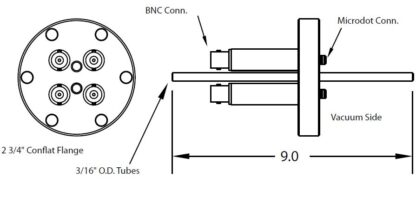 """4 MicroDot to BNC connector and 2 cooling tubes (3/16"""" OD), DN40CF"""
