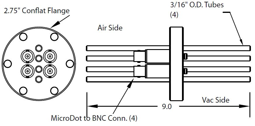 4 MicroDot to BNC connector and 4 tubes (3/16