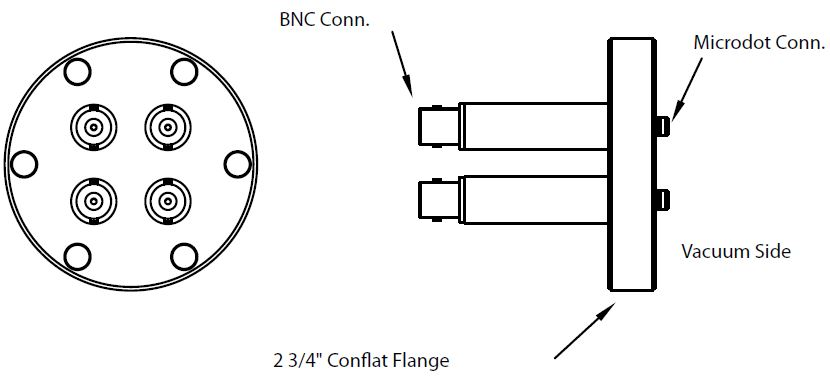 4 MicroDot to BNC connector, DN40CF
