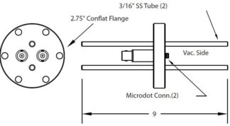"2 MicroDot to BNC connector and 2 cooling tubes (3/16"" OD), DN40CF"