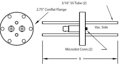 """2 MicroDot to BNC connector and 2 cooling tubes (3/16"""" OD), DN40CF"""