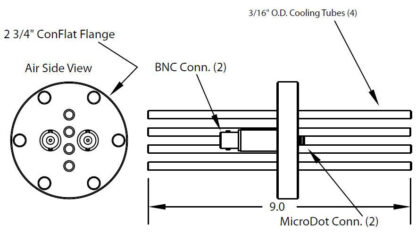 """2 MicroDot to BNC connector and 4 cooling tubes (3/16"""" OD), DN40CF"""