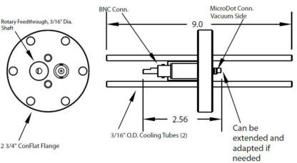"""1 MicroDot to BNC connector and 2 cooling tubes (3/16"""" OD) and 1 rotary feedthrough, DN40CF"""