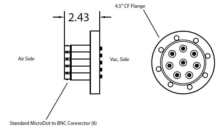 8 MicroDot to BNC connector, DN63CF