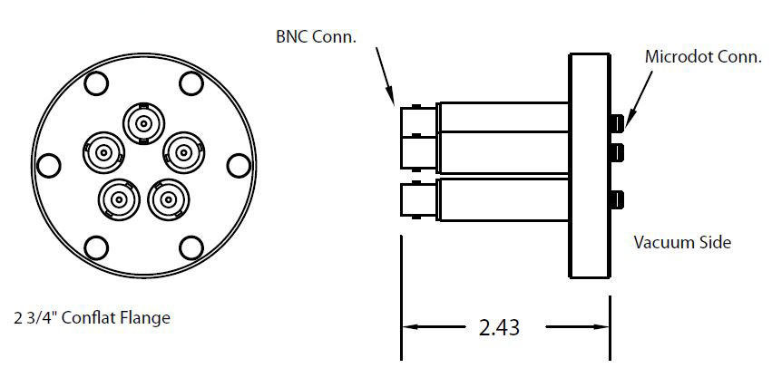 5 MicroDot to BNC connector, DN40CF