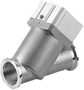 Pneumatic operated, bellow sealed angle-in-line valve, stainless steel, DN40KF, EPDM seals