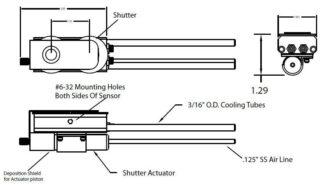 """Dual Quartz Crystal sensor, 3/16"""" cooling tubes"""
