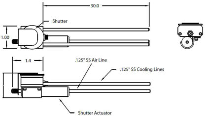 "Single Quartz Crystal sensor with shutter, 1/8"" cooling tubes"