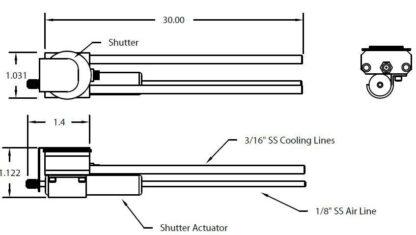 "Single Quartz Crystal sensor with shutter, 3/16"" cooling tubes"