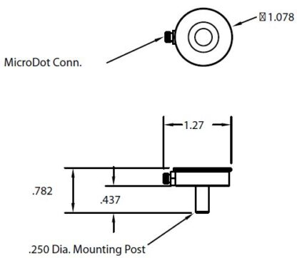 """Single Quartz Crystal sensor holder with 1/4"""" OD mounting post, no water cooling, Microdot connector at the side"""