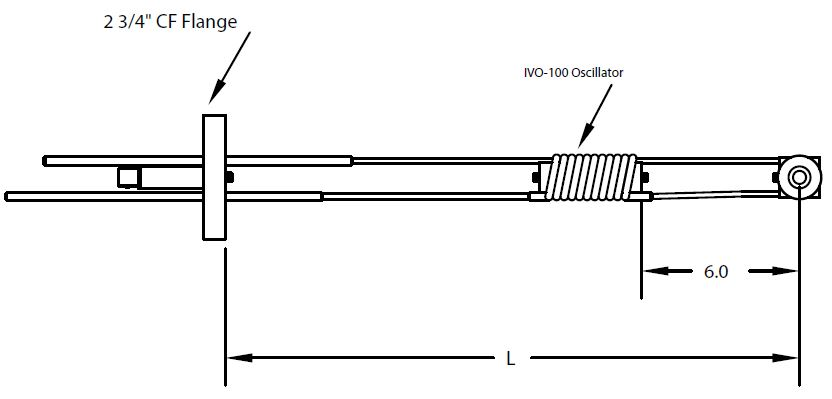 DN40CF feedthrough with single Quartz Crystal sensor/In-Vac Oscillator including in-vacuum cable
