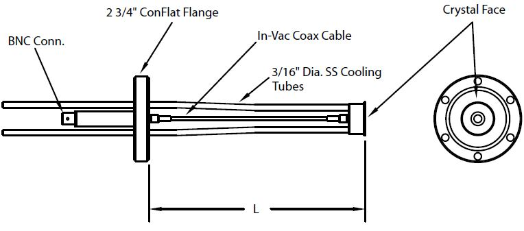 DN40CF feedthrough with right angle single Quartz Crystal sensor including in-vacuum cable