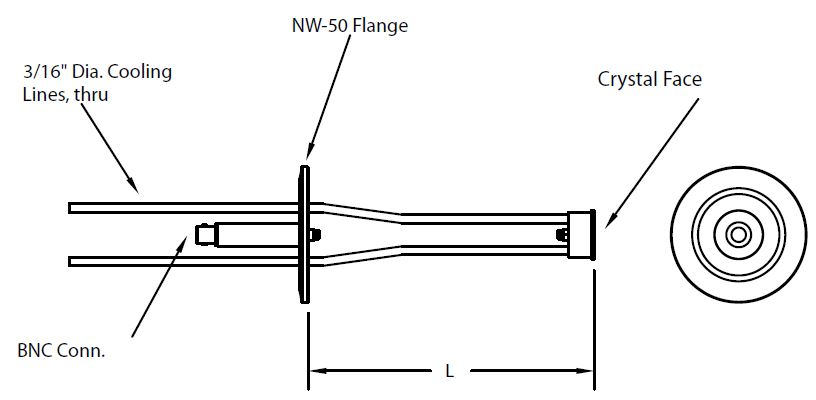 DN50KF feedthrough with right angle single Quartz Crystal sensor including in-vacuum cable