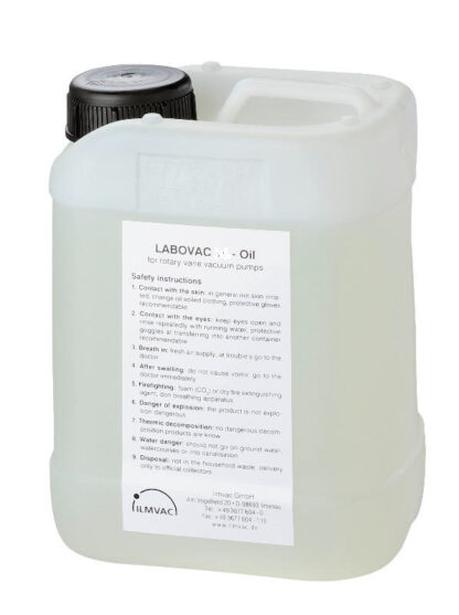 Mineral oil for rotary vane pumps with vapor pressure 10 e-5 mbar. viscosity @40C. = 118cSt. (5 ltr)