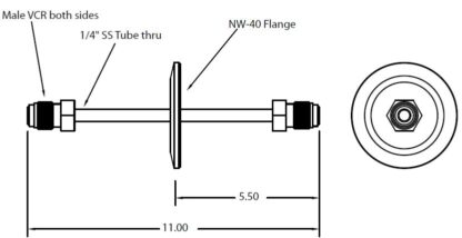 """DN40KF feedthrough with single tube and 1/4"""" male VCR fittings on both sides"""