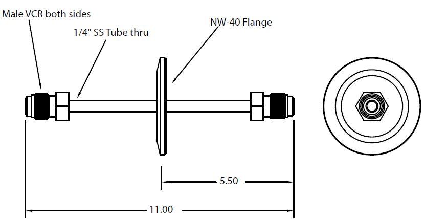 DN40KF feedthrough with single tube and 1/4