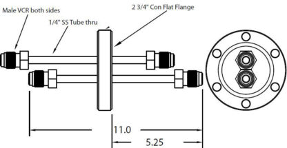 """DN40CF feedthrough with dual tubes and 1/4"""" male VCR fittings on both sides"""
